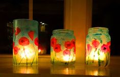 How to make a stained glass poppy votive Here's a fun little project that would make a lovely teacher or hostess gift for the holidays. Crafty Projects, Art Projects, Group Projects, Veterans Day Activities, Elderly Activities, Nursing Home Crafts, Remembrance Day Poppy, Poppy Craft, Steam Art