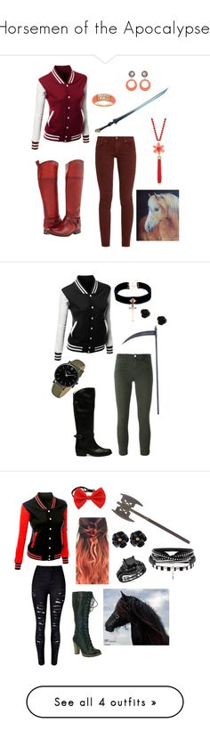 """""""Horsemen of the Apocalypse!"""" by kbelle28 ❤ liked on Polyvore featuring The Great, Frye, Julie Sion, Van Cleef & Arpels, Kate Spade, VSA, J Brand, claire's, CLUSE and WithChic"""