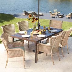Soho 9 Pc Padded Sling Dining Set with 75 103x40 Extendable