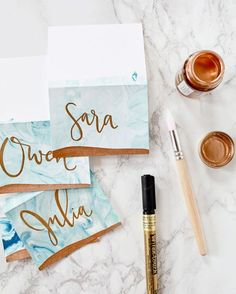 DIY marbling paper with gold details