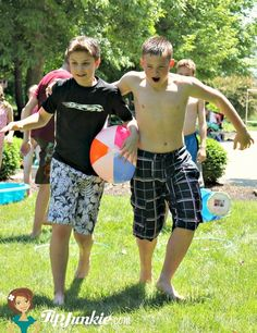 Beach Ball Relay Race - no hands, arms, or feet allowed to move the ball to the finish line...mid-section only