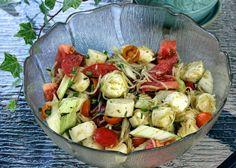 Au gré du marché: Salade de tomates, bocconcini et coeurs de palmier