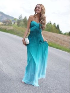Charming strapless chiffon gradient-color prom dress, evening dress $189