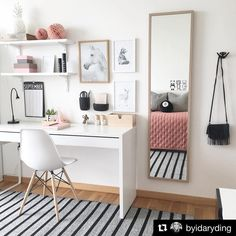 The ideal study room design is one that accommodates studying and looks good. Want to make such a room for yourself? Check out these study room ideas Study Room Decor, Cute Room Decor, Room Ideas Bedroom, Diy Bedroom, Bedroom Girls, Girl Rooms, Bedroom Inspo, Room Decor Bedroom Rose Gold, Master Bedroom