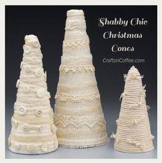 Beautiful Christmas DIY -- make vintage style, Shabby Chic Christmas Cones… Lace Christmas Tree, Tabletop Christmas Tree, Christmas Tree Crafts, Shabby Chic Christmas, Holiday Tree, Rustic Christmas, Beautiful Christmas, Christmas Ideas, Christmas 2015