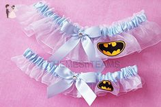 Customizable handmade - White & Light Blue - Batman fabric handcrafted keepsake bridal garters wedding garter set - Bridal garters (*Amazon Partner-Link)