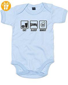 Eat Sleep Boost, Gedruckt Baby Strampler - Dusty Blau/Schwarz 6-12 Monate (*Partner-Link)