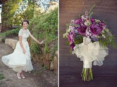 purple and lavender bouquet. this website is vintage wedding heaven!