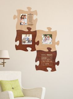 "Puzzle ""piece"" your family and friends together with this wall art. There's room for everyone, plus integrate inspirational sayings, scripture, and quotes throughout."