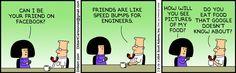 Today on Dilbert en Español - Comics by Scott Adams Dilbert Cartoon, Dilbert Comics, Facebook, Scott Adams, Speed Bump, Todays Comics, Happy May, Website Features, Non Sequitur