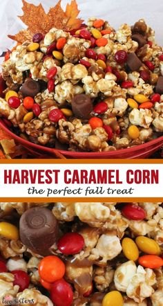 Harvest Caramel Corn a great Fall treat or Thanksgiving dessert. Salty popcorn, creamy caramel and sweet chocolate - so very delicious and easy to make. Trail Mix Recipes, Snack Mix Recipes, Fall Dessert Recipes, Popcorn Recipes, Thanksgiving Recipes, Easy Dinner Recipes, Fall Recipes, Holiday Recipes, Chocolate Covered Popcorn