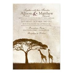 Rustic African Giraffe Wedding Invitations. Features two Giraffes standing under a tree on the Serengeti in Africa. Perfect for zoo or ethnic themed weddings or shower or other event such as a safari themed party. #giraffes #zoowedding