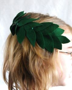 Activities: How to Make a Laurel Wreath. An old head band and some green felt become a crown for your young champion.