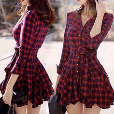 VESTIDO XADREZ MANGA LONGA - Vestido xadrez com mangas longas e cinto no mesmo tecido. Tecido Grosso flanelado.   Aproveite o final do inverno!  Material: Algodão,Poliéster