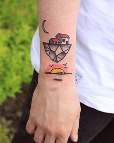 "patryk-hilton:  "" Flying house  Dzieki Tomek  #tattoo #krakow #tattoofestconvention #flyinghouse #surrealism #sunset #bydgoszcz #classictattoo #tattoo #homesweethome #tattoosofinstagram #tattoomag  ""  Patryk Hilton"