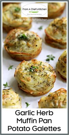 Garlic Herb Muffin Pan Potato Galettes are an easy, elegant side dish that's perfect all year round! Buttery, garlicky and herb-infused potato slices turn out golden, crispy and delicious! #potato #potatorecipes #potatosidedish #sidedish #galette Potato Side Dishes, Vegetable Side Dishes, Thanksgiving Side Dishes, Thanksgiving Recipes, Christmas Recipes, Side Dish Recipes, Vegetable Recipes, Potato Recipes, Muffin Pan Recipes