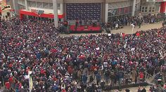 A free public rally was held in front of Gillette Stadium Monday morning to help send the New England Patriots to Super Bowl LI in style.
