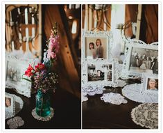 bride and groom family picture table
