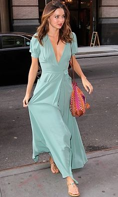 Miranda Kerr in maxi dress - Celebrity Street Style