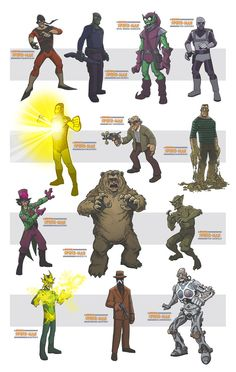 awesome spiderman villains II by DC-Miller on DeviantArt Marvel Dc Comics, Hq Marvel, Marvel Villains, Marvel Heroes, Superhero Characters, Comic Book Characters, Comic Books Art, Comic Art, Arte Nerd