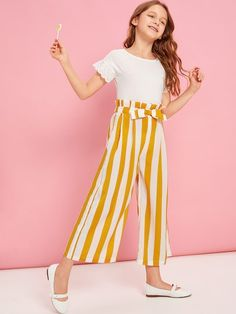Girls Paperbag Waist Bow Detail Striped Pants – Kidenhouse Source by tween outfits winter Kids Dress Wear, Dresses Kids Girl, Kids Outfits Girls, Cute Girl Outfits, Cute Outfits For Kids, Cute Summer Outfits, Cute Casual Outfits, Cute Dresses, Girls Fashion Clothes