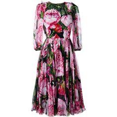 Dolce & Gabbana rose print chiffon dress ($3,995) ❤ liked on Polyvore featuring dresses, black, dolce gabbana dress, three quarter sleeve dress, three quarter length sleeve dresses, chiffon camisole and zip back dress
