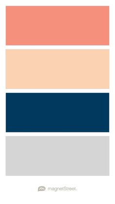 Coral, Peach, Navy, and Silver Wedding Color Palette - custom color palette created at MagnetStreet.com