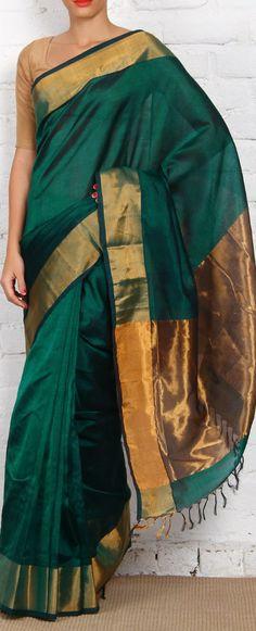 Handloom Cotton Silk Saree with Zari Work. original pin by @webjournal
