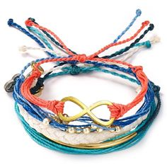 Pura Vida Bracelets Summer Blues Bracelets, Set Of 5