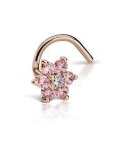 5.5mm Light Pink Diamond Flower Nostril Stud - ROSE GOLD\LEFT SIDE Image #1