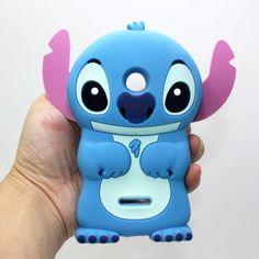3D Silicone Lumia 532 Case Cute Blue Lilo and Stitch Cartoon Cell Phone Back Cases Cover Skin For Microsoft Nokia Lumia 435 532