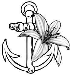 Anchor with a lily tattoo for my grandmother
