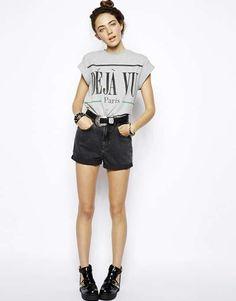 ASOS | High Waist Denim Mom Shorts in Washed Black #asos #denim #shorts