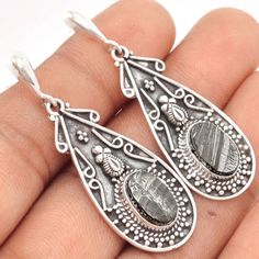 Shungite-925-Sterling-Silver-Earrings-Jewelry-SE95631