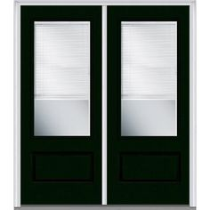 MMI Door 72 In. X 80 In. Internal Blinds Right Hand Inswing 3/4 Lite  1 Panel Clear Painted Fiberglass Smooth Prehung Front Door