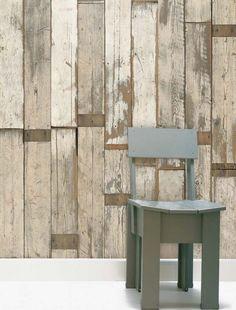 des papiers peints salon style rétro modèle Scrapwood