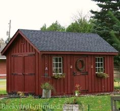 10'x16' Garden Shed with Painted Board  Batten Siding, 9-Lite Wood Windows, Additional Single Dutch Door, Flower Boxes and Gable Vents http://www.backyardunlimited.com/sheds/garden-sheds