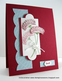 "I like the composition of this card...uses Stampin' Up!'s Apothecary Accents Framelits, Large Scallop Edgelit, and ""Reason to Smile"" stamp set"