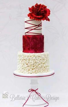 White and red wedding cake with ruffles and peony - Bellaria Cake Design Amazing Wedding Cakes, White Wedding Cakes, Amazing Cakes, Red Wedding, Gorgeous Cakes, Pretty Cakes, Red Cake, Ruffle Cake, Just Cakes