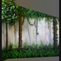 Regenwaldwandbild andere Seite des Raumes, Rainforest mural other side of the room, forest mural Forest Room, Forest Mural, Jungle Bedroom, Baby Bedroom, Art Mural, Wall Art, Tree Wall Murals, Jungle Decorations, Fence Art