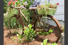 Check out this #WhyReStore redo: an old bike becomes an interesting garden planter.