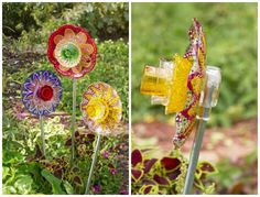 Learn how to make glass garden flowers from old plates, bowls, candleholders, and more
