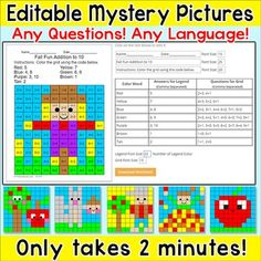 These easy to use editable mystery pictures will allow you to quickly create engaging worksheets to review any questions in any language. You can make a worksheet in about 2 minutes!! Make math questions, practice sight words or anything you can think of that will fit into the space provided.The worksheets are perfect for math centers, literacy centers, early finishers, substitutes or homework.Note: An internet connection is required.