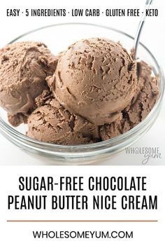 Chocolate Peanut Butter Nice Cream Recipe - Learn how to make nice cream without bananas or an ice cream maker! This delicious chocolate peanut butter nice cream recipe is sugar-free, low carb, keto and vegan. Just 5 ingredients and 5 minutes prep time! Sugar Free Ice Cream, Low Carb Ice Cream, Vegan Ice Cream, Protein Ice Cream, Sugar Free Sherbet Recipe, Sugar Free Chocolate Ice Cream Recipe, Sugarfree Ice Cream Recipe, Sugar Free Popsicles, Almond Milk Ice Cream