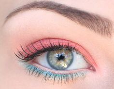 Upper lid, Cream/nude; On Lid: Pink; Tear duct: Light pink; Below lower lash line: Sky blue; Outside corner of lower lash line: white or light blue; Below sky blue: gold. Finish with mascara