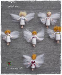 needle felted mini angels Felt Christmas Ornaments, Christmas Angels, Christmas Crafts, Needle Felted Ornaments, Felt Angel, Felt Fairy, Felting Tutorials, Fairy Dolls, Felt Dolls
