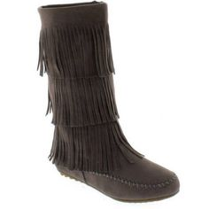 Shoes of Soul Women's Fringe Boots, 8, Gray