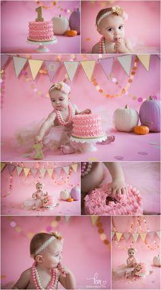 pink and gold pumpkin cake smash - 1st birthday theme pink and gold pumpkins