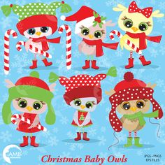 80%OFF Christmas Owls Clipart Baby Owls by AMBillustrations