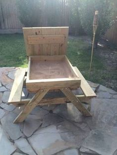 How to build a kids picnic table and sandbox combo DIY projects for everyone! is part of Kids picnic table - Kids Woodworking Projects, Wood Projects For Beginners, Woodworking Projects Diy, Woodworking Furniture, Diy Wood Projects, Kids Furniture, Wood Crafts, Woodworking Plans, Furniture Storage